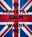 MUM STAY CALM IT WASNT ME - Personalised Poster large
