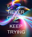 NEVER GIVE UP AND KEEP TRYING - Personalised Poster large