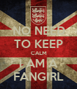 NO NEED TO KEEP CALM I AM A FANGIRL - Personalised Poster large