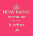 NOW PANIC because I'm back  bitches -A - Personalised Poster large