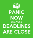 PANIC NOW BECAUSE DEADLINES ARE CLOSE - Personalised Poster large