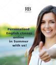 Personalized                    English classes                   online                   in Summer                   with us!                  - Personalised Poster large