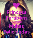Princesa Parabéns 25 aninhos Muitas Felicidades - Personalised Poster small