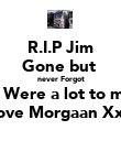 R.I.P Jim Gone but  never Forgot U Were a lot to me Love Morgaan XxX - Personalised Poster large