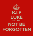 R.I.P LUKE YOU WILL NOT BE FORGOTTEN - Personalised Poster large