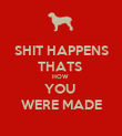 SHIT HAPPENS THATS  HOW  YOU  WERE MADE - Personalised Poster large