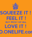 SQUEEZE IT !  FEEL IT ! BUT MOST OF ALL  LOVE IT !  BD.ONELIFE.com  - Personalised Poster large