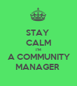 STAY  CALM I'M A COMMUNITY MANAGER  - Personalised Poster large