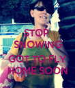STOP  SNOWING   GOT TO FLY  HOME SOON  - Personalised Poster large