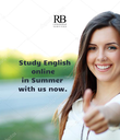 Study English                online                in Summer                 with us now.                  - Personalised Poster large