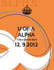U OF A  ALPHA  Telus Centre 5pm  12. 9.2012   - Personalised Poster large