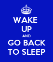WAKE  UP AND GO BACK TO SLEEP - Personalised Poster large