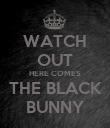 WATCH OUT HERE COMES THE BLACK BUNNY - Personalised Poster large