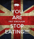 YOU ARE FAT ENOUGH  STOP  EATING!!!!  - Personalised Poster large