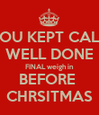 YOU KEPT CALM WELL DONE FINAL weigh in BEFORE  CHRSITMAS - Personalised Poster large