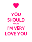YOU SHOULD KNOW I'M VERY LOVE YOU - Personalised Poster large