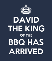 DAVID THE KING OF THE BBQ HAS ARRIVED - Personalised Large Wall Decal