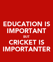 EDUCATION IS IMPORTANT BUT CRICKET IS IMPORTANTER - Personalised Poster large