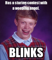 Has a staring contest with a weeping angel. BLINKS - Personalised Poster large