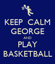 KEEP  CALM GEORGE AND PLAY BASKETBALL - Personalised Large Wall Decal