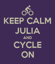 KEEP CALM JULIA AND CYCLE ON - Personalised Large Wall Decal