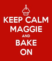 KEEP CALM MAGGIE AND BAKE ON - Personalised Large Wall Decal