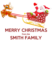 MERRY CHRISTMAS from the SMITH FAMILY  - Personalised Large Wall Decal