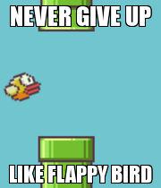 NEVER GIVE UP LIKE FLAPPY BIRD - Personalised Poster large