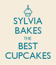 SYLVIA BAKES THE  BEST CUPCAKES - Personalised Poster large