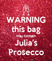 WARNING this bag may contain Julia's Prosecco - Personalised Large Wall Decal