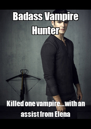 Badass Vampire Hunter Killed one vampire...with an assist from Elena - Personalised Poster A4 size