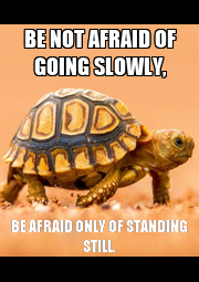 BE NOT AFRAID OF GOING SLOWLY, BE AFRAID ONLY OF STANDING STILL. - Personalised Poster A4 size