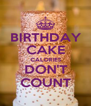 BIRTHDAY CAKE CALORIES DON'T COUNT - Personalised Poster A4 size