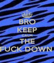 BRO KEEP CALM THE FUCK DOWN  - Personalised Poster A1 size