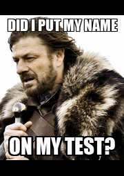 DID I PUT MY NAME ON MY TEST? - Personalised Poster A1 size