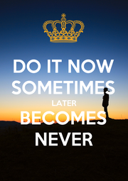 DO IT NOW SOMETIMES LATER BECOMES NEVER - Personalised Poster A1 size