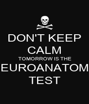 DON'T KEEP CALM TOMORROW IS THE NEUROANATOMY TEST - Personalised Poster A1 size