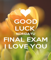 GOOD LUCK  NORIDAYU FINAL EXAM I LOVE YOU - Personalised Poster A1 size