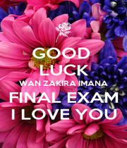 GOOD  LUCK WAN ZAKIRA IMANA FINAL EXAM I LOVE YOU - Personalised Poster A1 size