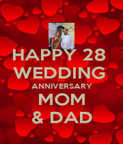HAPPY 28  WEDDING  ANNIVERSARY MOM & DAD - Personalised Poster A1 size