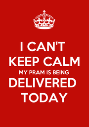 I CAN'T  KEEP CALM MY PRAM IS BEING  DELIVERED  TODAY - Personalised Poster A1 size