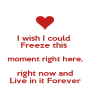 I wish I could  Freeze this  moment right here, right now and Live in it Forever - Personalised Poster A1 size