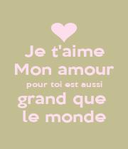 Je t'aime Mon amour pour toi est aussi grand que  le monde - Personalised Poster A1 size