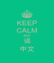 KEEP CALM AND 说 中文 - Personalised Poster A1 size