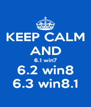 KEEP CALM AND 6.1 win7 6.2 win8 6.3 win8.1 - Personalised Poster A4 size