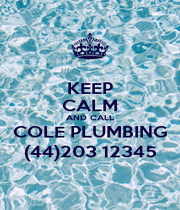 KEEP CALM AND CALL COLE PLUMBING (44)203 12345 - Personalised Poster A1 size