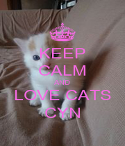 KEEP CALM AND LOVE CATS CYN - Personalised Poster A1 size