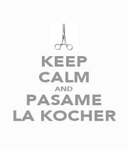 KEEP CALM AND PASAME LA KOCHER - Personalised Poster A4 size