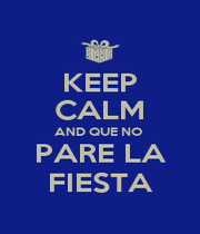 KEEP CALM AND QUE NO  PARE LA FIESTA - Personalised Poster A1 size