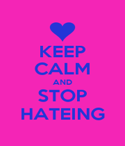 KEEP CALM AND STOP HATEING - Personalised Poster A1 size